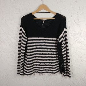 Free People Boxy Black Striped Sweater